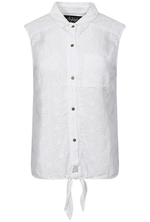 SUPERDRY SHIFFLEY LACE SLEEVELESS SUMMER SHIRT - JUNGLE WHITE