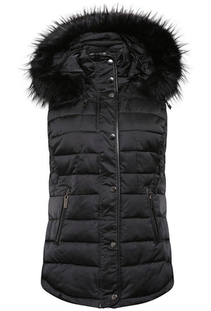 RINO & PELLE VIVIAN QUILTED GILET WITH FAUX FUR TRIM HOOD - BLACK