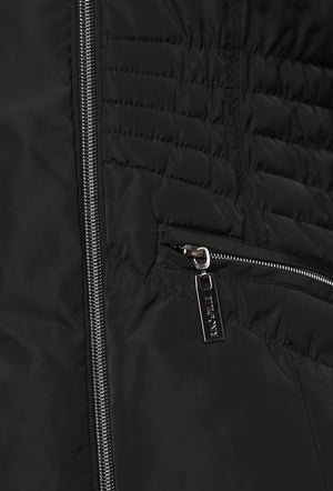RINO & PELLE RANDY KNITTED COLLAR QUILTED COAT - BLACK