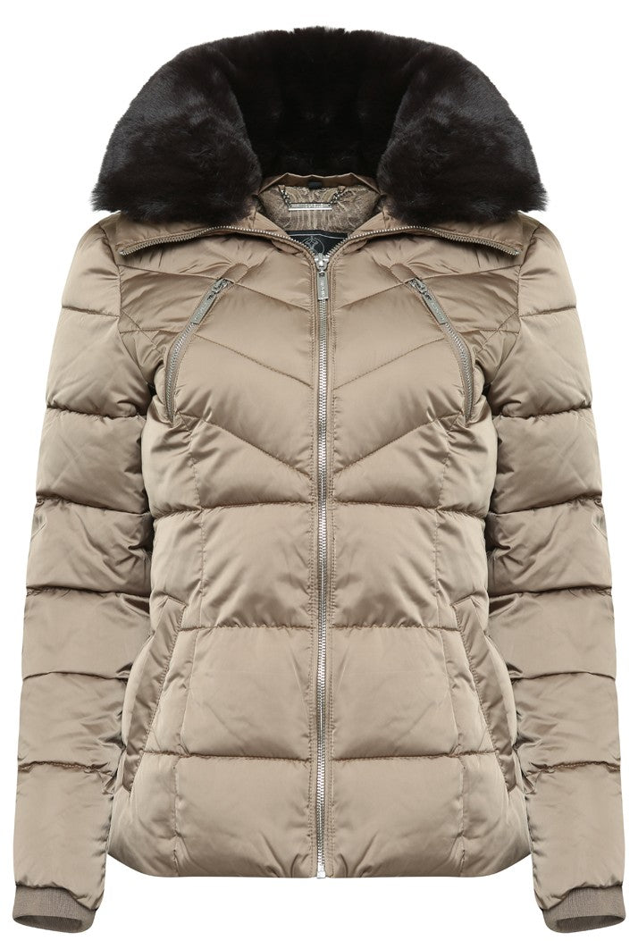 RINO & PELLE TEMMY FAUX FUR COLLAR QUILTED COAT - GOLD