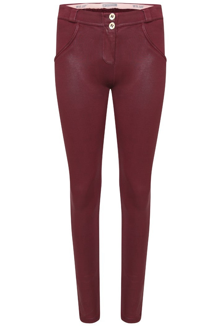 FREDDY WRUP1RC04E SHAPING EFFECT MID RISE COATED COTTON SKINNY PANT - RED