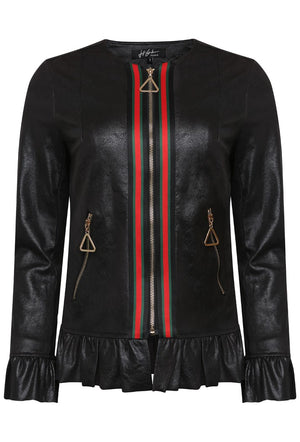 JEFF GALLIANO GUCCI INSPIRED PU FRILL PEPLUM JACKET - BLACK