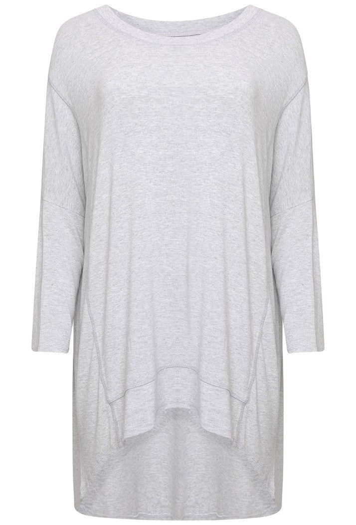 A POSTCARD FROM BRIGHTON FLORRIE DIP HEM SLOUCH TOP - VANILLA