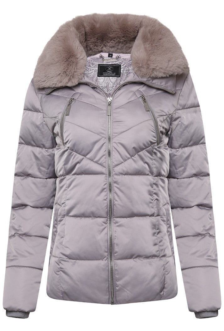 RINO & PELLE TEMMY FAUX FUR COLLAR QUILTED COAT - SILVER ROSE