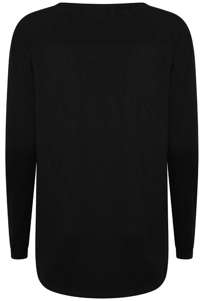 EMBELLISHED SKULL LOOSE FIT KNITTED LONG SLEEVED TOP - BLACK