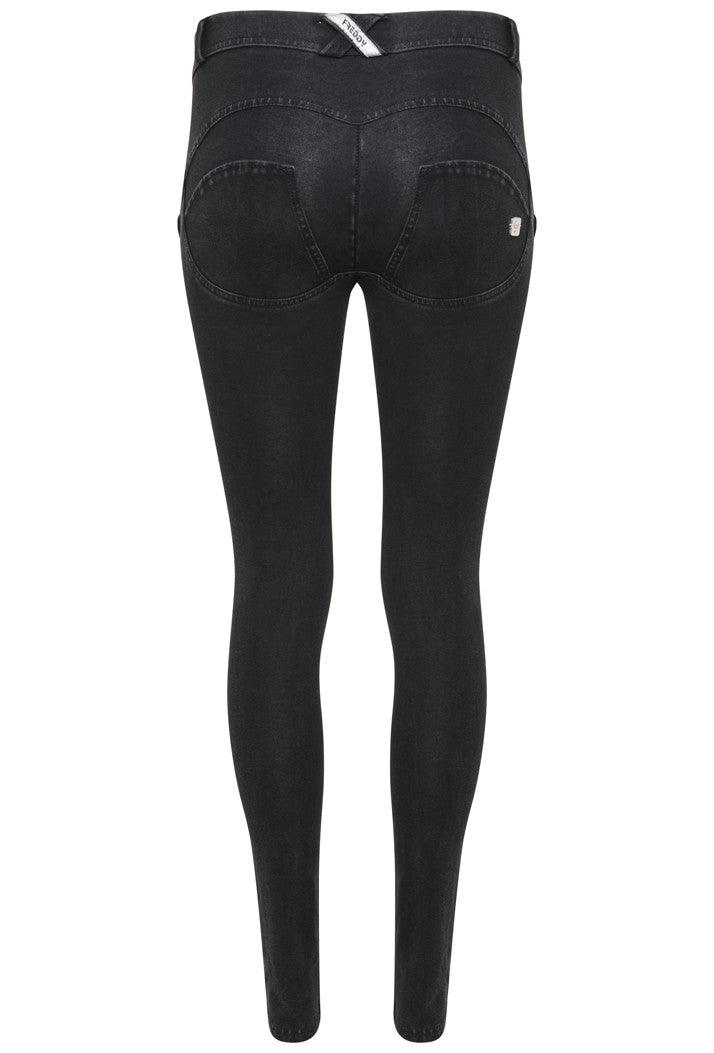 FREDDY WRUP1RJ01E SHAPING EFFECT MID RISE BLACK STITCHING SKINNY PANT - BLACK