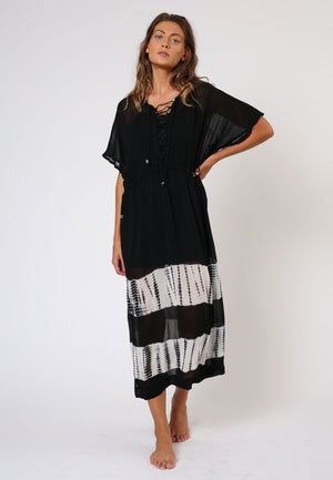 RELIGION ECLIPSE KAFTAN -  JET BLACK/WHITE