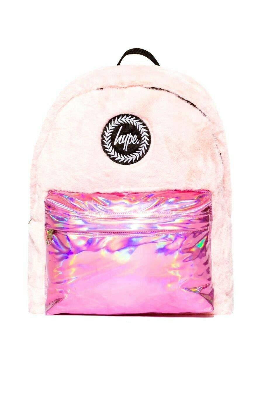 HYPE FUR HOLO POCKET BACKPACK RUCKSACK BAG - PINK