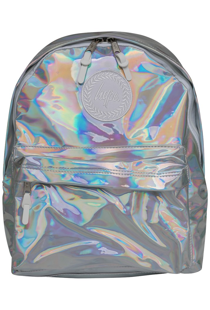 HYPE HOLOGRAPHIC BACKPACK RUCKSACK BAG - SILVER