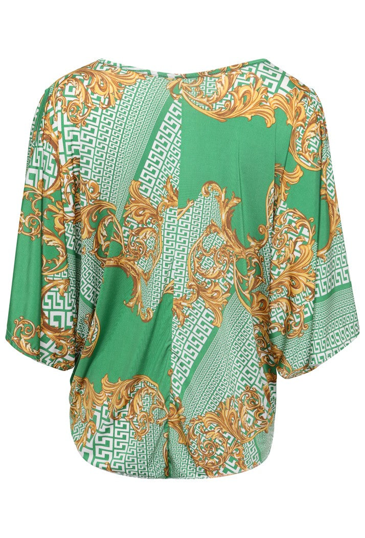 DB3 TIE FRONT CUT OUT SLEEVE BATWING PRINTED TOP - GREEN