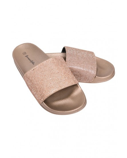 OPEN TOE DIAMANTE SLIDERS - GOLD