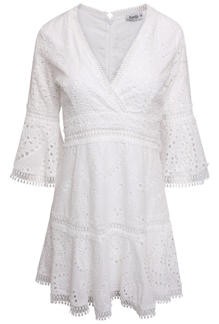 DANITY A-LINE BRODERIE ANGLAISE COTTON DRESS - WHITE