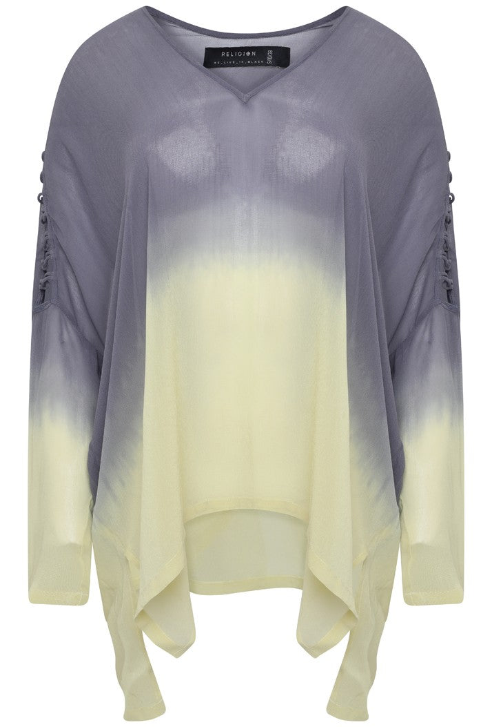 RELIGION PARADISE LONG SLEEVE TOP - RAW GREY/LEMON GRASS