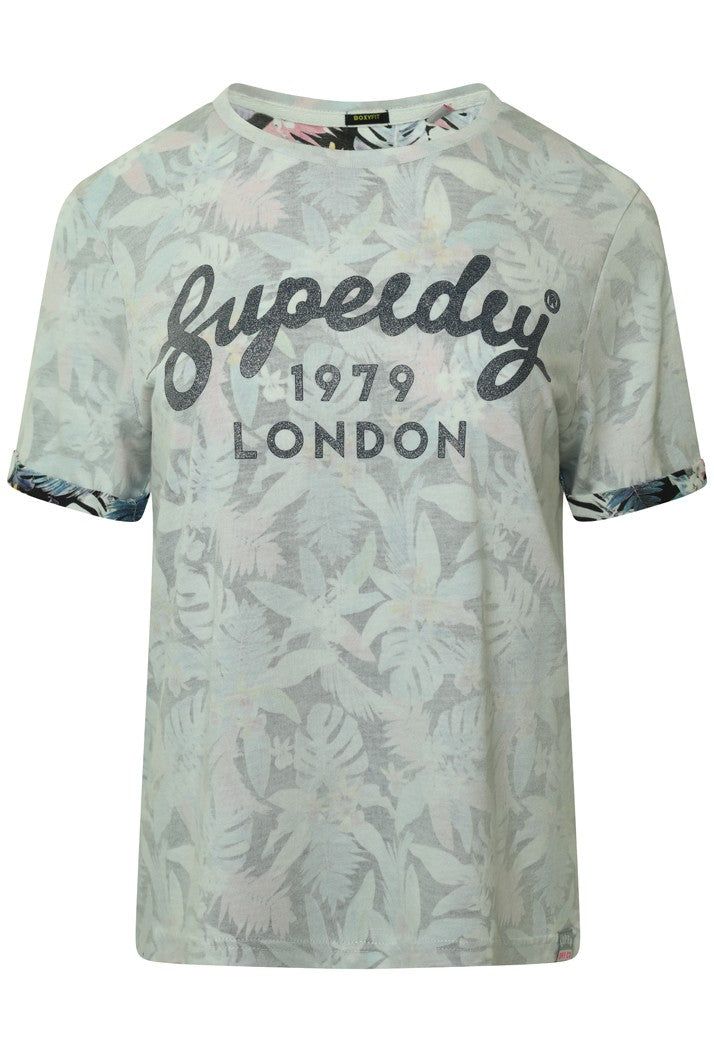 SUPERDRY 1979 HAWAII BOXY T-SHIRT - BLACK TROPICAL AOP