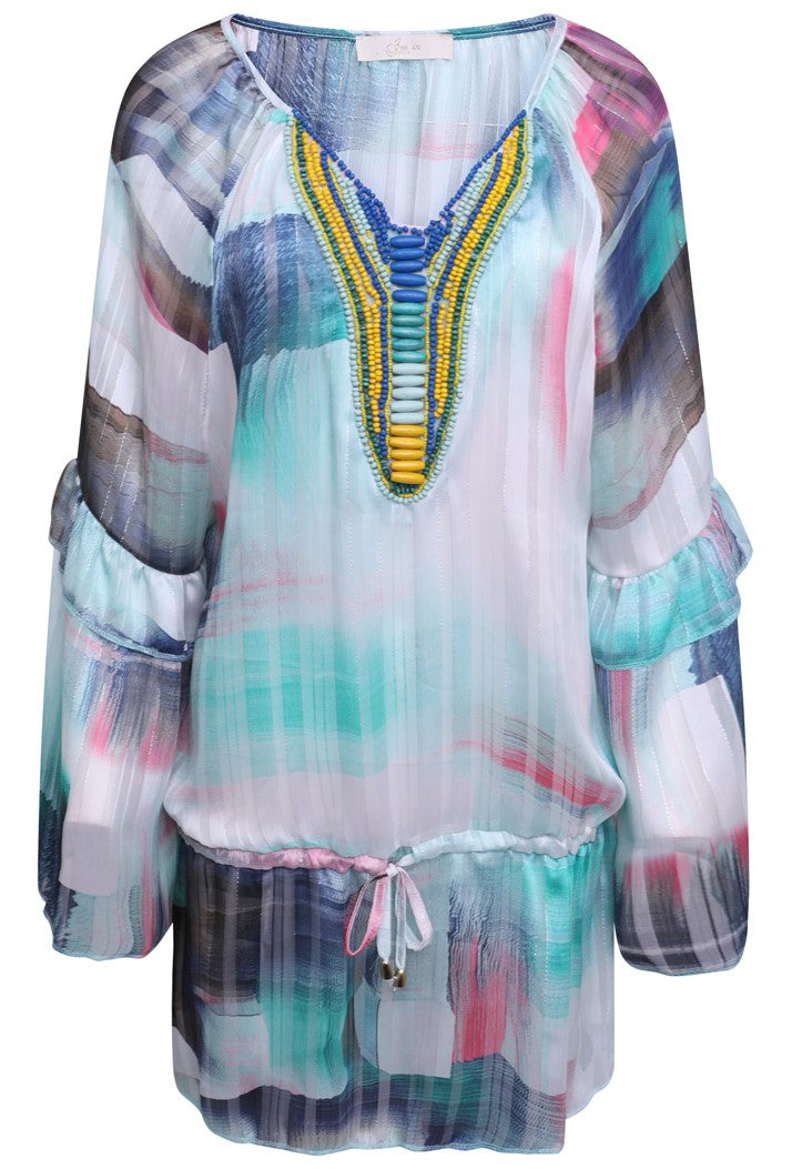 JUST M PARIS SHADOW PRINT BEADED SUMMER TOP - BLUE