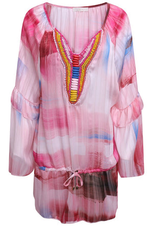 JUST M PARIS SHADOW PRINT BEADED SUMMER TOP - PINK