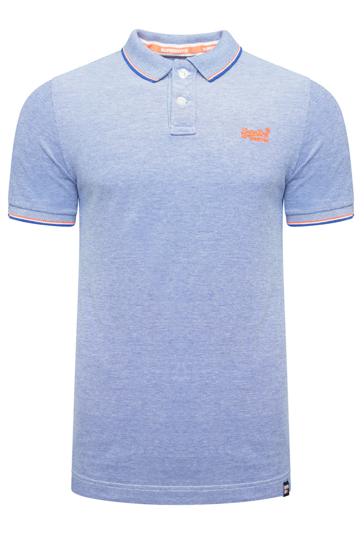 SUPERDRY CLASSIC POOLSIDE PIQUE POLO SHIRT - COBALT/WHITE