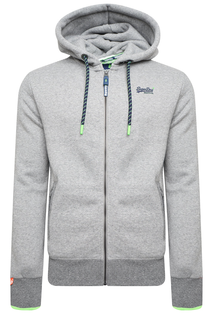 SUPERDRY ORANGE LABEL HYPER POP ZIP HOODIE - GREY FEEDER