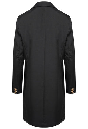DOUBLE BREASTED LONGLINE JACKET - BLACK