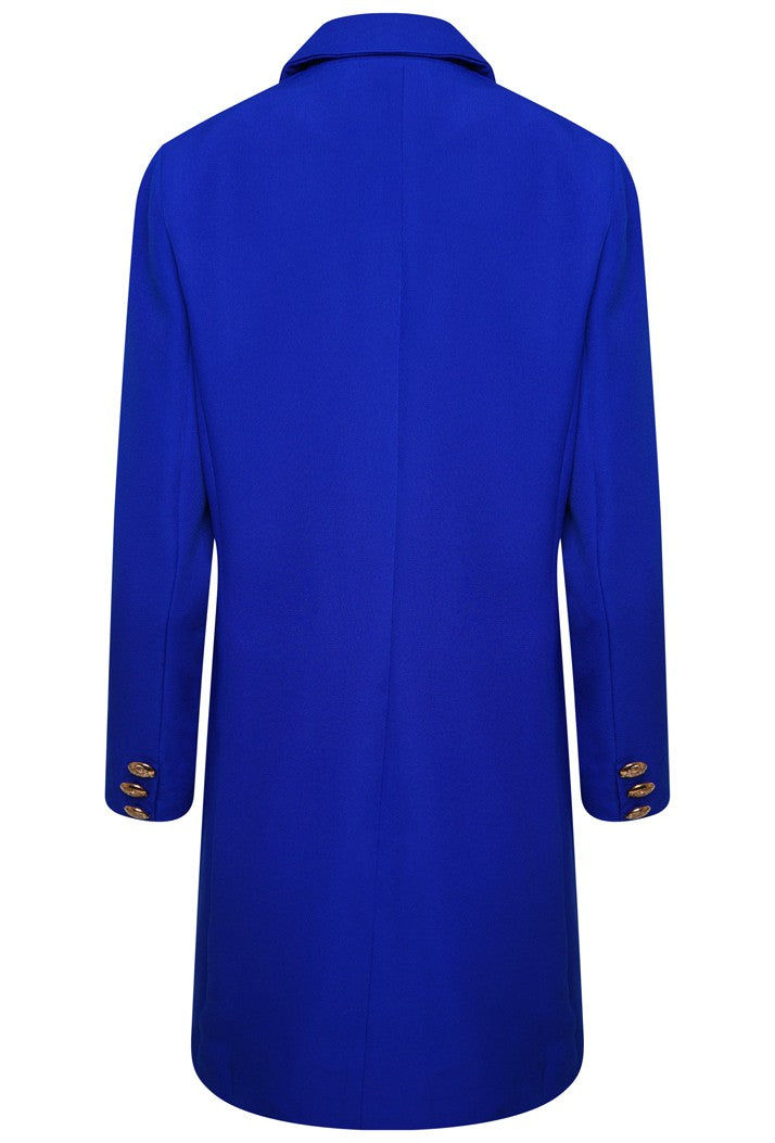 DOUBLE BREASTED LONGLINE JACKET - ROYAL BLUE