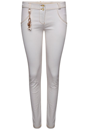 FREDDY WRUP1RS914 MID RISE SKINNY PANT WITH CHARMS - WHITE