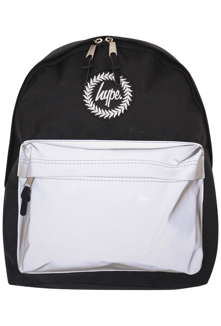 HYPE REFLECTIVE POCKET BACKPACK RUCKSACK BAG - BLACK/GREY