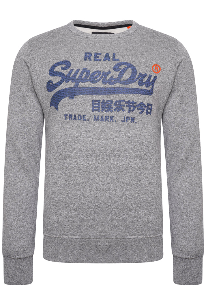 SUPERDRY VINTAGE LOGO PANEL STRIPE SWEATSHIRT - PHEOENIX GREY GRIT