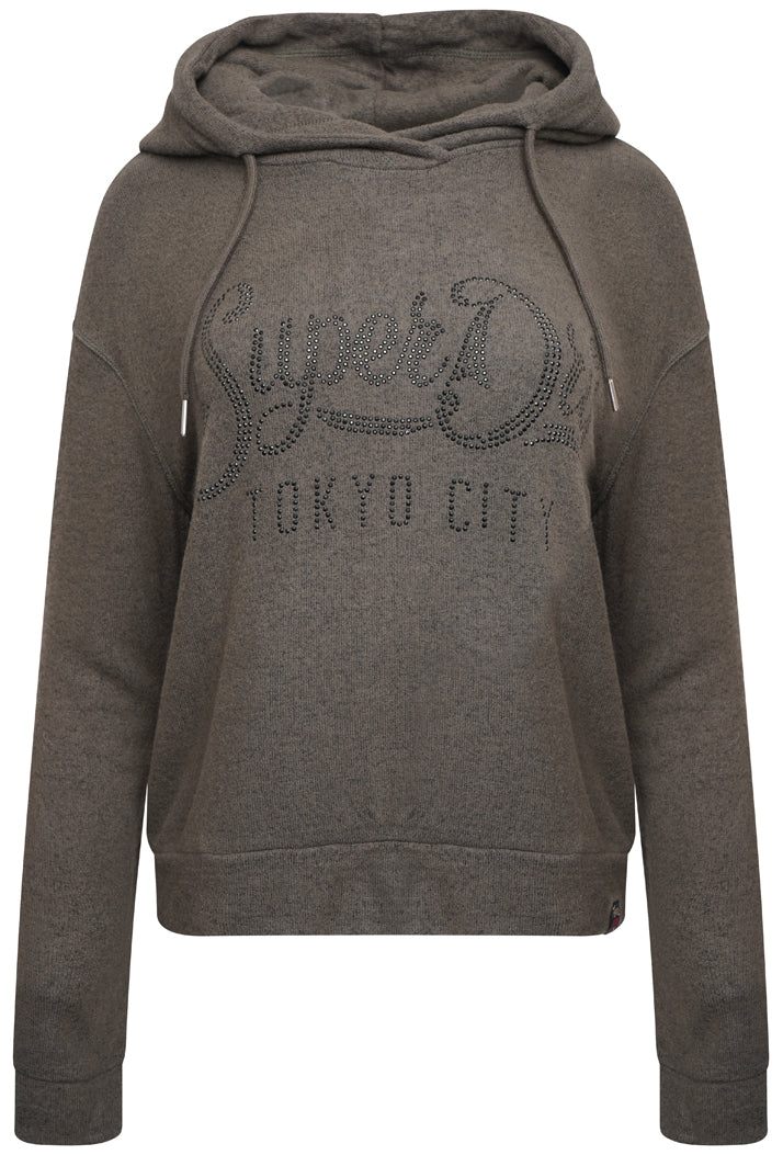 SUPERDRY ENFORD HOOD TOP - DUSTY KHAKI MARL