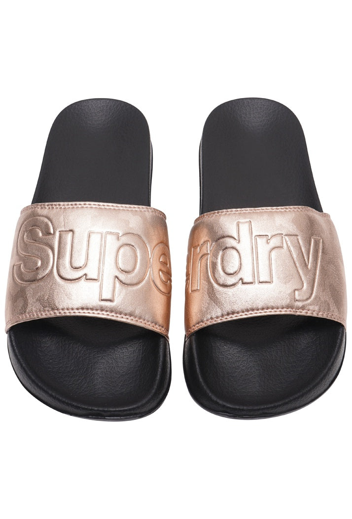 SUPERDRY POOL SLIDERS - BLACK/ROSE GOLD CAMO