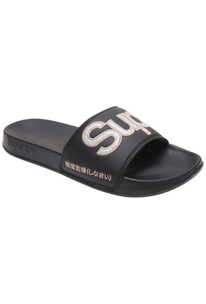 SUPERDRY GLITTER POOL SLIDERS - BLACK/SILVER GLITTER