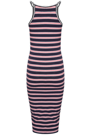 SUPERDRY TIANA MIDI DRESS - RED/ECLIPSE/WHITE STRIPE