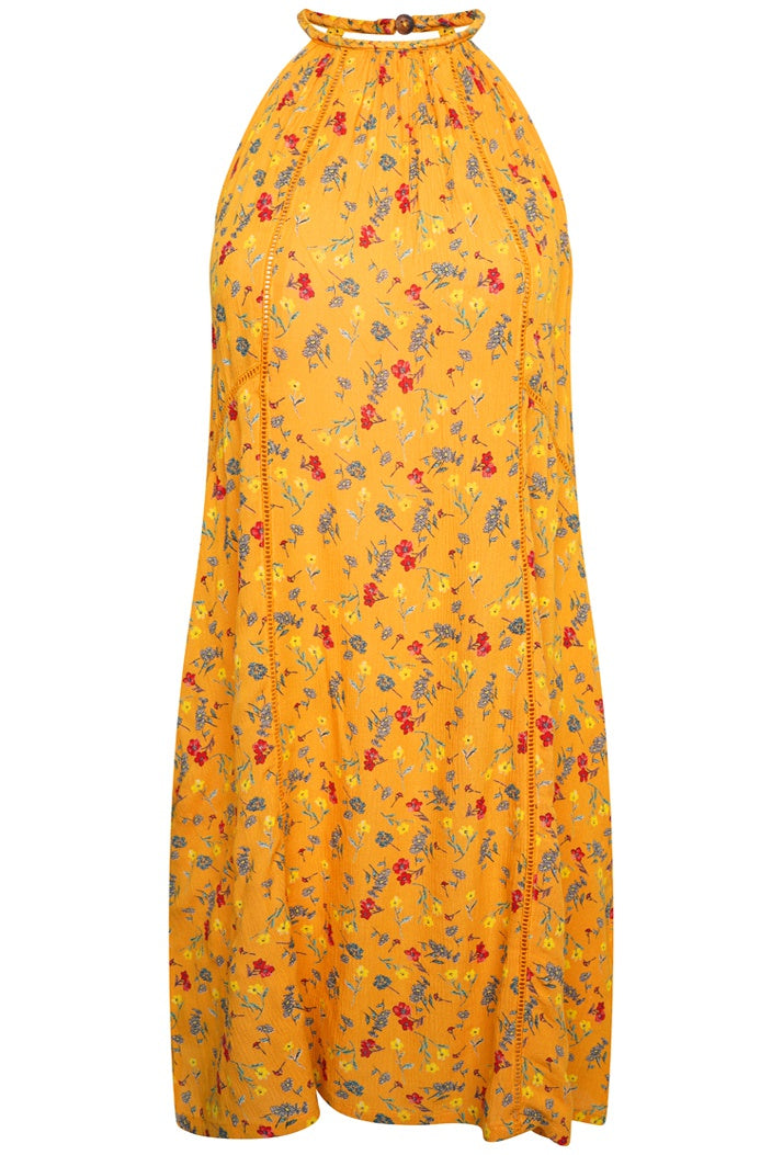 SUPERDRY RILEY LACE HALTER DRESS - BUTTERCUP