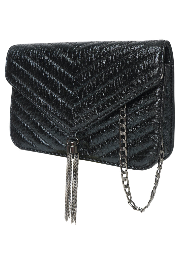 YSL INSPIRED QUILTED METALLIC CROSS BODY CHAIN BAG