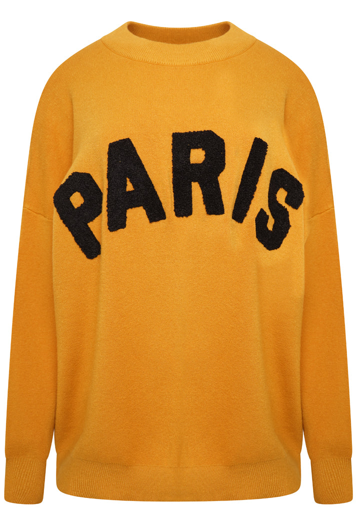 PARIS OVERSIZED SLOGAN JUMPER  - MUSTARD