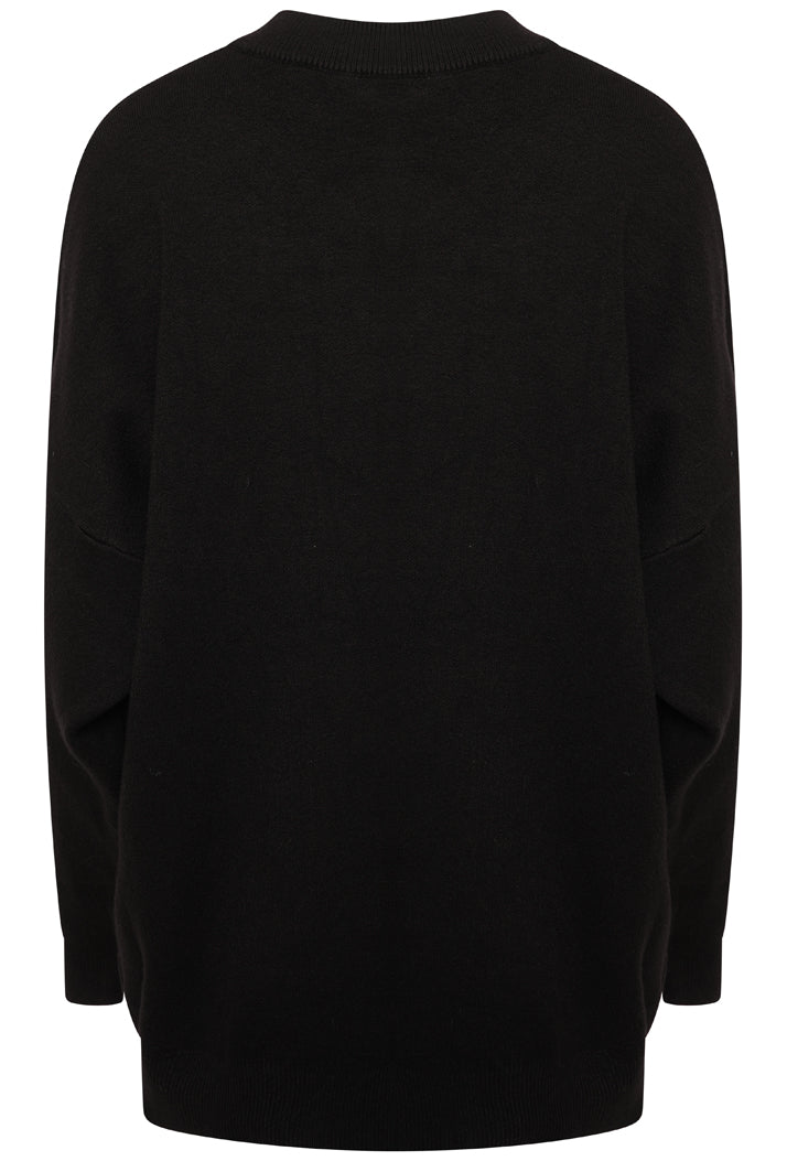 PARIS SLOGAN OVERSIZED JUMPER - BLACK
