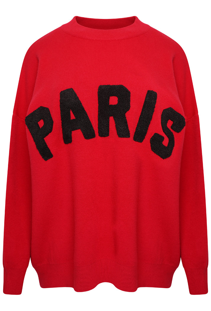 PARIS SLOGAN OVERSIZED JUMPER - RED