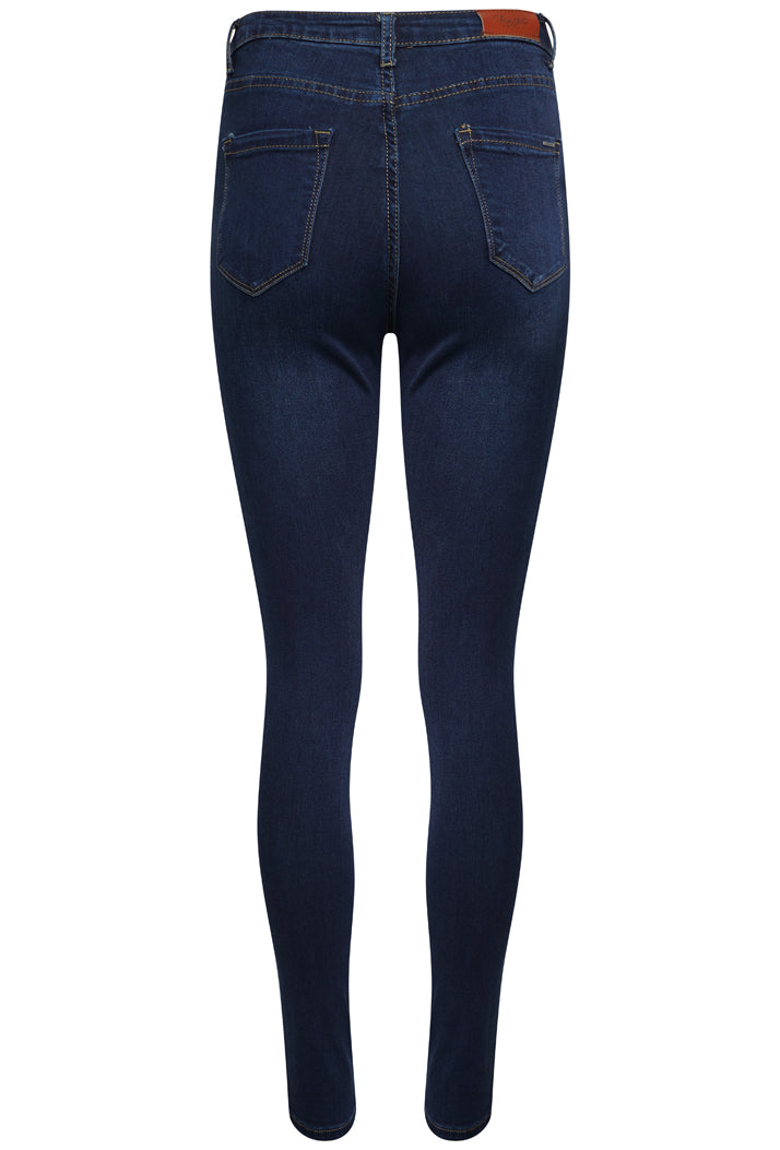 TOXIK3 L185-J9 HIGH WAIST SKINNY JEANS - DARK BLUE