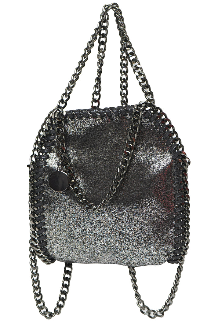 STELLA INSPIRED METALLIC MICRO X-BODY/TOTE BAG - BLACK/SILVER
