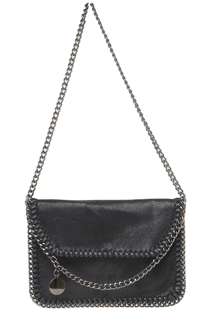 STELLA INSPIRED METALLIC X-BODY/CLUTCH BAG - BLACK