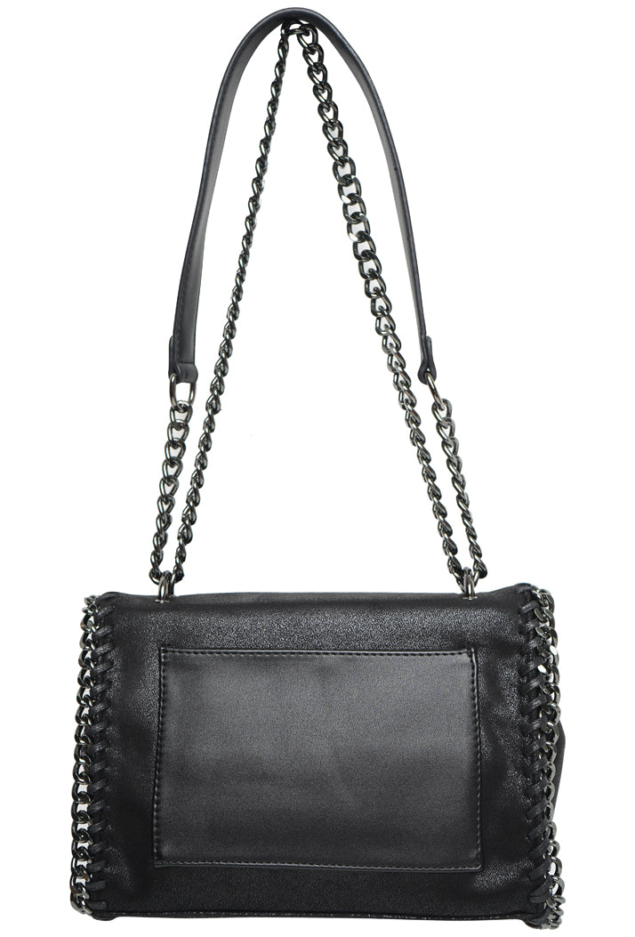 STELLA INSPIRED METALLIC STRUCTURED X-BODY BAG - BLACK