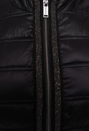 RINO & PELLE BLACK PUFFA COAT WITH SPARKLE CHAIN DETAIL