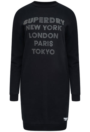SUPERDRY EMBELLISHED SWEAT DRESS - BLACK