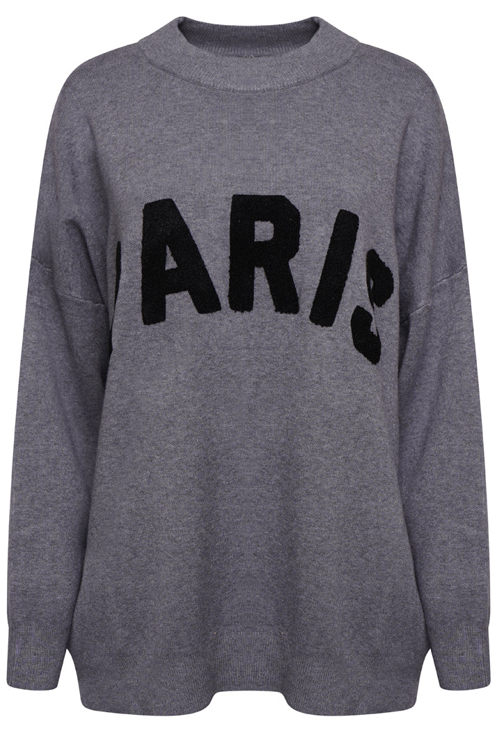 PARIS OVERSIZED SLOGAN JUMPER - GREY
