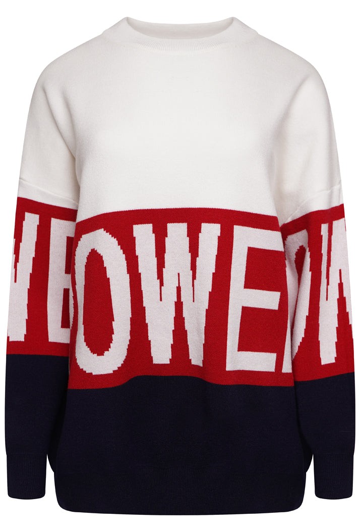 POWER OVERSIZED SLOGAN JUMPER - WHITE