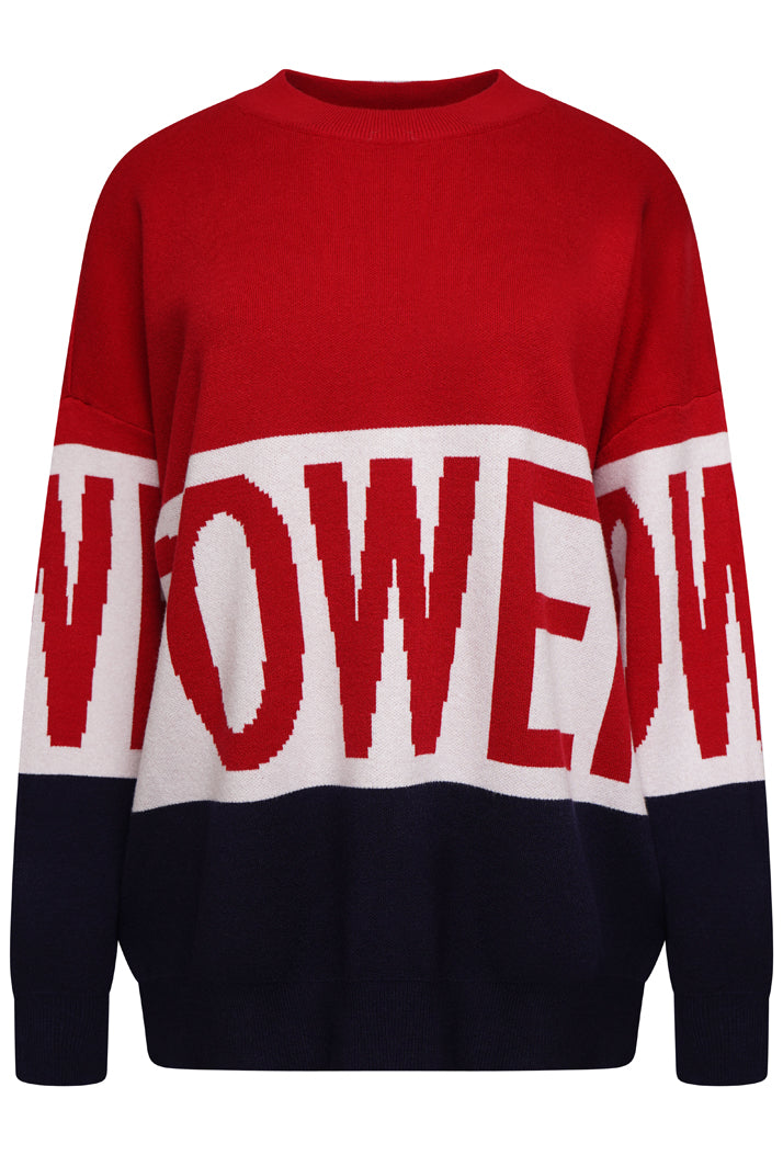 POWER OVERSIZED SLOGAN JUMPER - RED