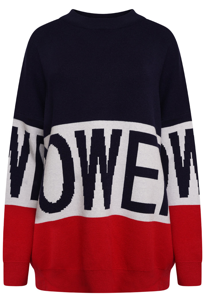 POWER OVERSIZED SLOGAN JUMPER - NAVY