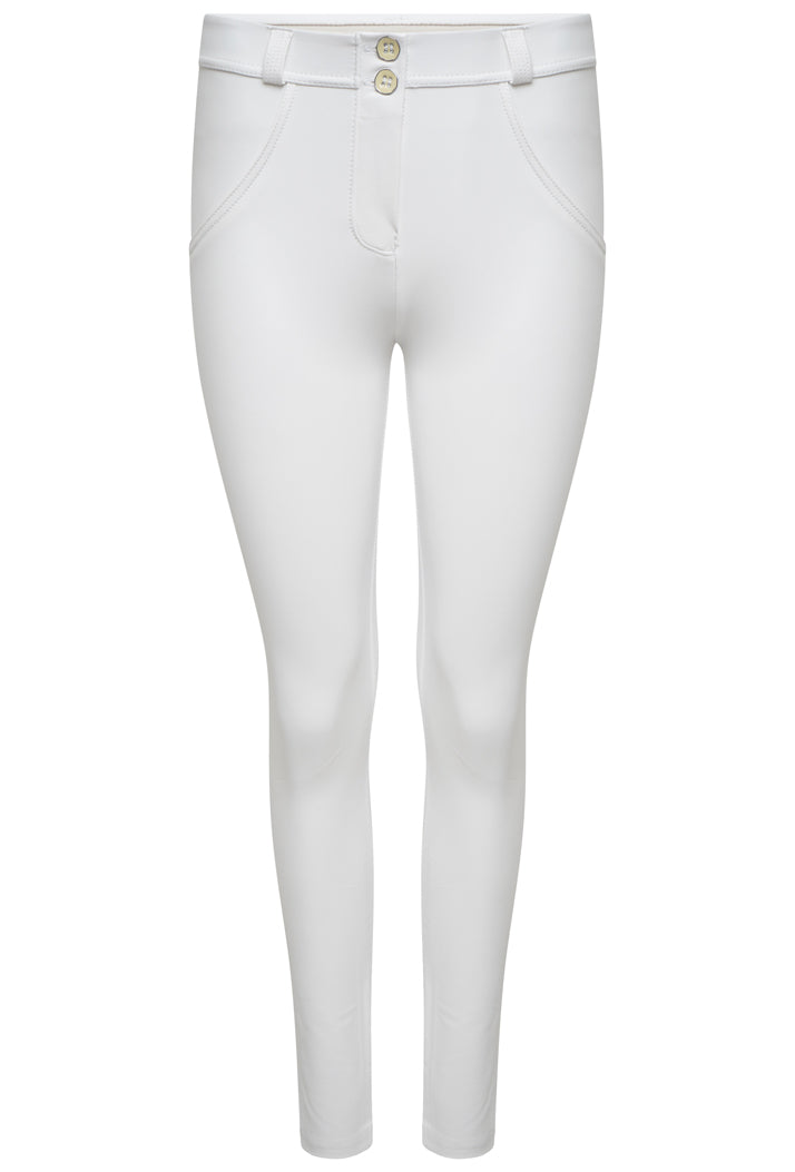 FREDDY WRUP1RC006 SHAPING EFFECT MID RISE FAUX LEATHER SKINNY PANT - WHITE