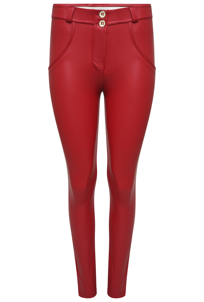 FREDDY WRUP1RC006 SHAPING EFFECT MID RISE FAUX LEATHER SKINNY PANT - RED