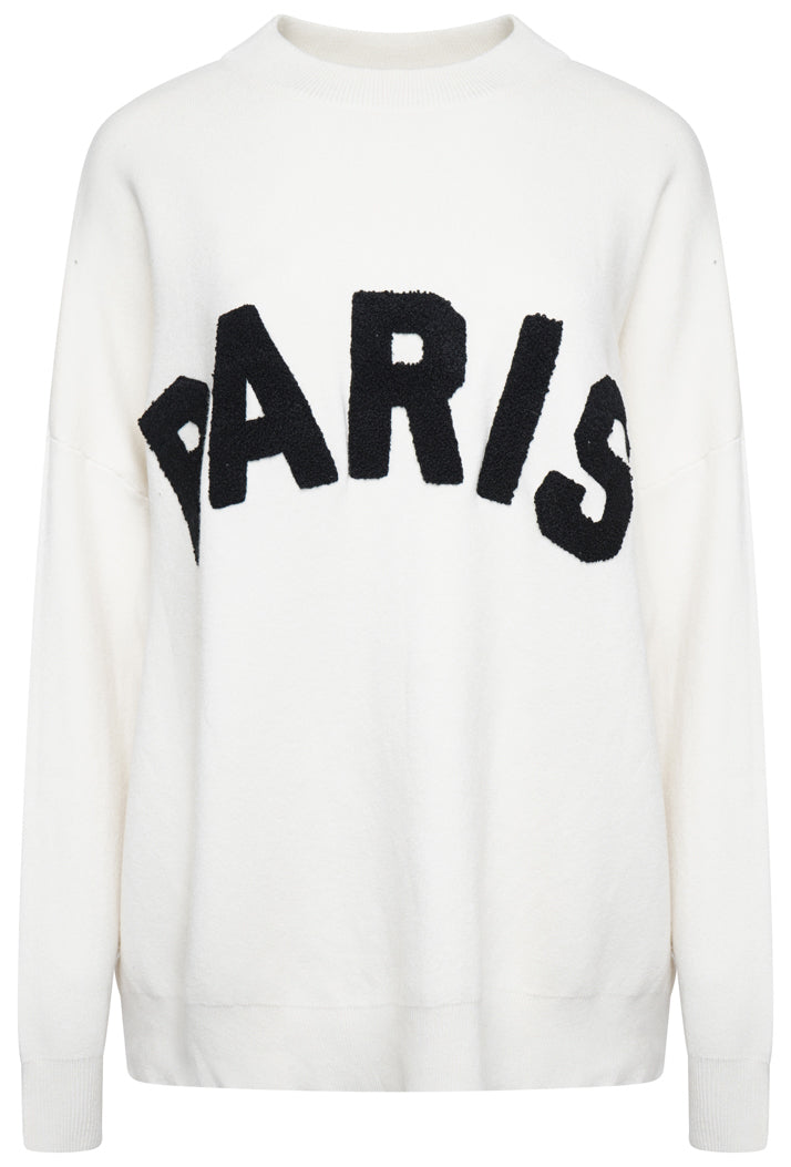 PARIS SLOGAN OVERSIZED JUMPER - CREAM