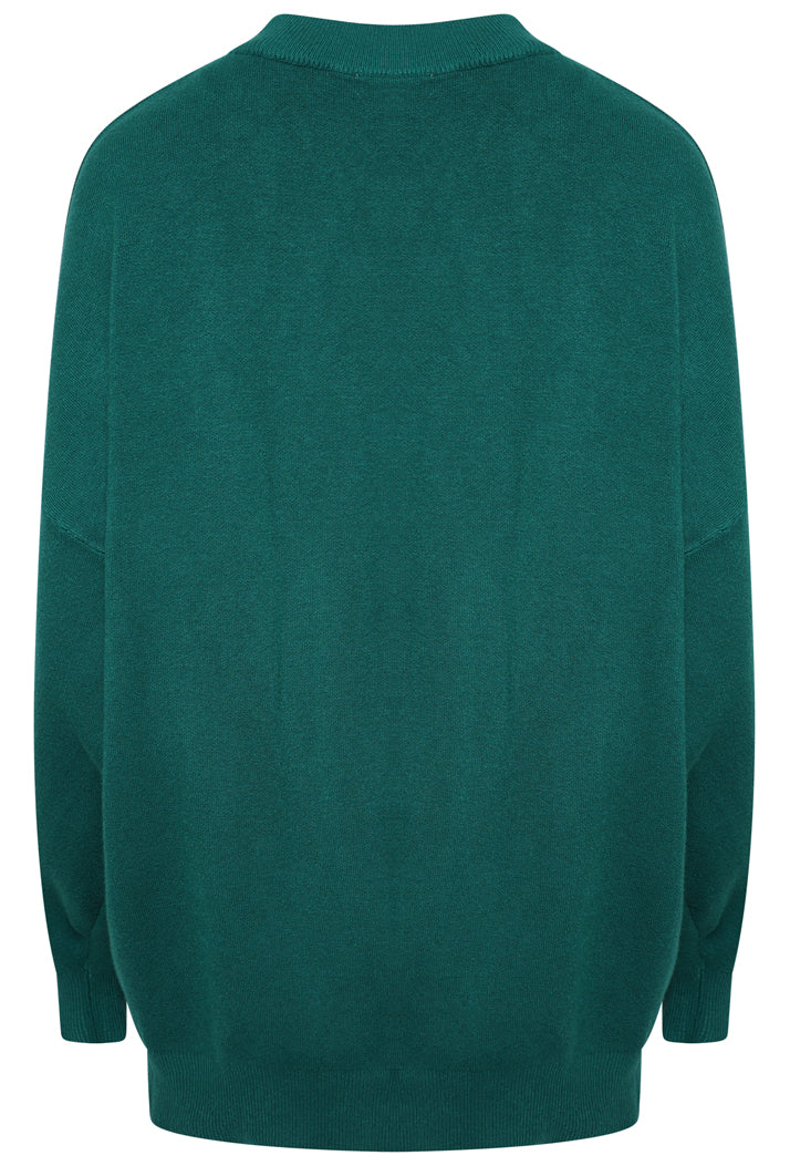 PARIS SLOGAN OVERSIZED JUMPER - GREEN